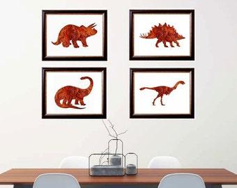 Set of 4 Prints, Dinosaur Art Print, Dinosaur Wall Decor, Dinosaur Poster, Dinosaur Wall Decor, Watercolor Dinosaur, Kids Room Decor