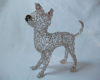 Chihuahua puppy wire sculpture