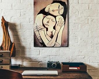 Love vintage painting print on natural wood art print, home decor wood print retro print on wood