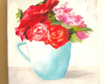 Triptych oil paintings set of 3 flowers and vase , red blue turquoise shades,  ready to be shipped #26