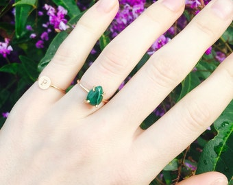 Malachite Ring, Green Stone Ring, Pear Shape Ring, Pear shape stone, green pear stone, Natural Malachite, Prong Set Ring, Gemstone Ring,Ring
