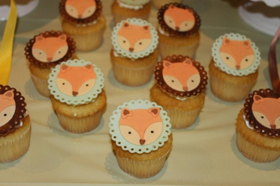 Fox Birthday Party Edible Cupcake Toppers | Birthday Wikii