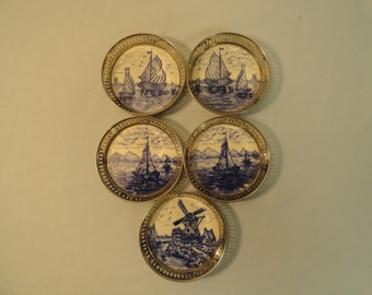Set of 5 Coasters From Germany With Nauticul Theme