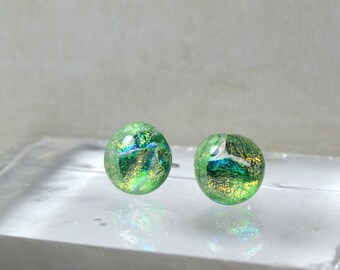 Dichroic Glass Earrings, Swirling Colors, Lime, Blue, Gold, Fused Glass, Artisan Glass, Handmade Studs, 8mm, 9mm, 10mm