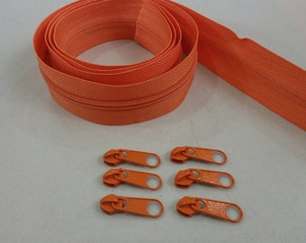 3 Yards, Zipper#5 with Free 6 Pulls, Orange Zipper by the Yard, Zipper # 5, Zipper by the Yard.