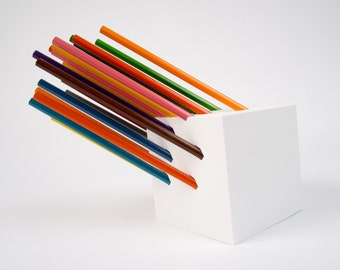 Cube pencil or pen holder, 3D Printed