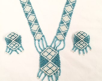 Vintage Beaded Necklace & Earring Set