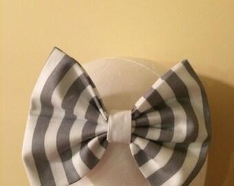 Headband, baby headband,girls headband, toddler headband, baby bow headband, hair bow, Gray striped headband