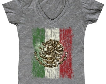 Distressed Mexican Flag - Ladies' V-neck