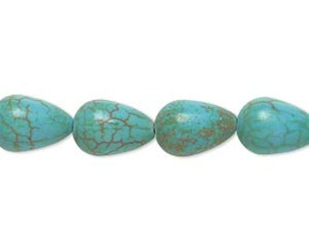 Teal Teardrop Beads, Magnesite Teardrop, Faux Turquoise, 12x8mm, 10 each, D713