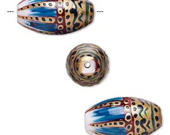 Tribal Bead, Lampwork Glass Bead, Brown, Turquoise, Gold, Oval, 2 each, 25x14mm, D812
