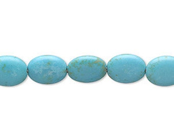 """Magnesite Bead, Flat Oval Bead, Turquoise Blue Bead, 14x10mm, 15"""" String, D298"""