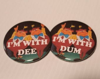 Tweedle Dee and Tweedle Dum Bundle, Pin Back Buttons, Best Friends, Alice In Wonderland