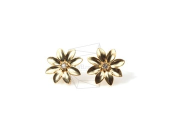 ERG-162-MG/2PCS/Tiny Jewel Flower Post/13mm x 13mm/Matte Gold Plated Over Brass