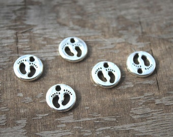 30pcs--Baby Feet Charms, Antique Tibetan silver 2 sided Baby Feet Charms Pendant 11x11mm D1254