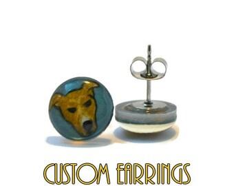 Custom Pet Portrait Brook Earrings