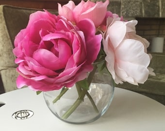 Pink Peony Faux Silk Arrangement in Bubble Vase With Illusion Water
