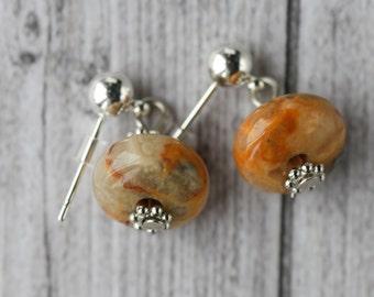 orange agate earrings / Crazy lace agate rondelle earrings,