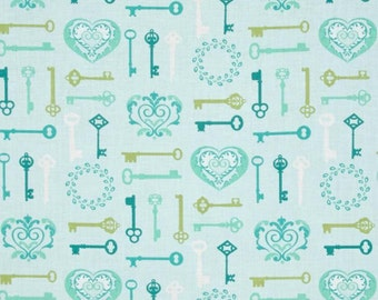 Key To My Heart Keys Aqua Lime Lovehearts Scroll Cotton Fabric from Carina collection by Amanda Murphy for Contempo by Benartex