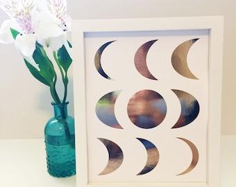 Moons Print - Gold Foil Wall Art - Prints - Moon - Modern Prints - Apartment Decor - Home Decor - Wall Décor - Gallery Wall