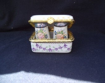 Small Ceramic Box with Miniture Salt and Pepper Shakers