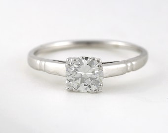Vintage .57 carat Old European Diamond, Platinum 14 karat Engagement ring. Circa 1940.