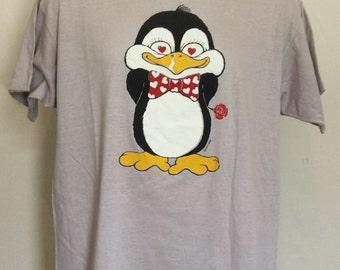 Vtg 1986 Penguin T-Shirt Gray L 80s