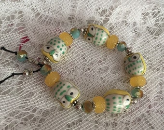 Yellow Owl and Glass Beaded Stretch Bracelet