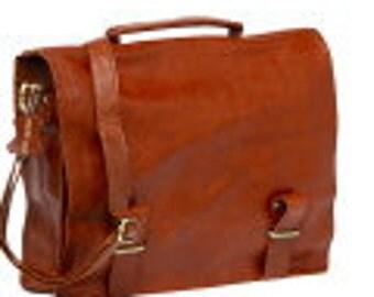 Copper Leather Book Bag