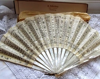 Antique German B.Silberberg  Mother of Pearl and Sequin Fan 19t century