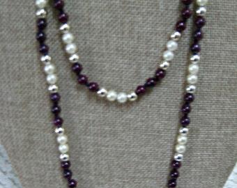 Vintage Faux Pearl Necklace, Plum, Eggplant, Deep Purple, Silver tone