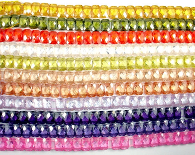 Cubic Zirconia Beads, CZ beads,  6 x 9 mm Double Hole Faceted Rectangle Beads, 6 Inch, 1 strand, 25 beads, Hole 0.8 mm, A quality (RCD0609)