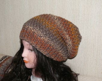 Hand Knit Chunky Hat Slouchy Women Hat in Multicolor Beanie, Knit Beret, Oversized Hat, Wool Beret