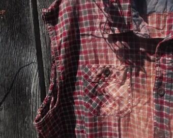 One of a Kind Custom Wrangler sleeveless flannel plaid shirt 3XL Oversized bleach destroyed cut off sleeve punk grunge slouchy burgundy gray