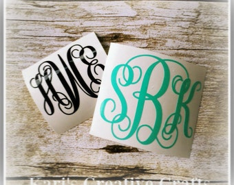 Initials decal, Car decal, Cup Decal, laptop decal, Monogram, Monogram decal, Coffee Cup Decal, Name Decal, Personalized decal