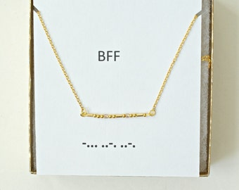 Sterling Silver Morse Code Best Friends Forever Necklace, BFF Necklace, BFF Morse Code Necklace, Best Friend Jewelry, Best Friend Gift,