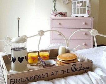 Personalised Wooden Tray, handmade wooden apple crate tea tray, serving tray, breakfast tray or garden seedling tray