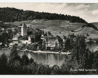 Spiez Hôtel Spiezerhof 60 - vintage real photo postcard - Friedr. von Allmen Spiez- RPPC- Switzerland - Berner Oberland- Thunersee