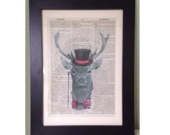 Vintage Stag Head Deer Pink Tartan Dictionary Print Wall Art Picture Framed Quirky Cool Funky Animal