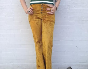 Vintage crushed velvet bell bottoms