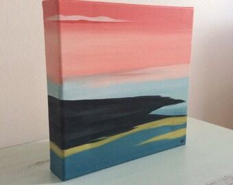 Autumn sunset 1-canvas acrylic