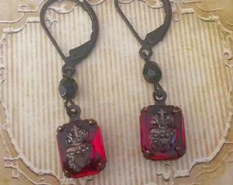 Rare Vintage Sacred Heart Earrings, Gothic, 1940's, red ruby, religious, heirloom