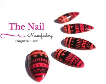 Orange-Pink Atec Fake Nails - Orange-Pink Ombre Effect - Handpainted Artificial Nail Set - choose Stiletto Nails, Square Nails, Oval Nails