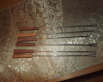 6 Fondue Forks w. Flat Handles in Good Vintage Condition