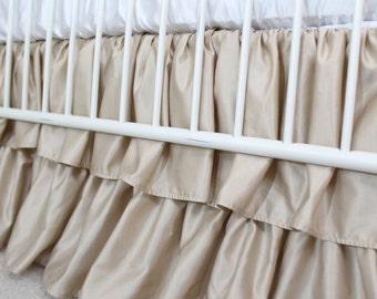 Waterfall Crib Skirt - Ruffled Crib Skirt Champagne Silk Cotton Blend - 2 Tier Crib Skirt - 15 inch drop