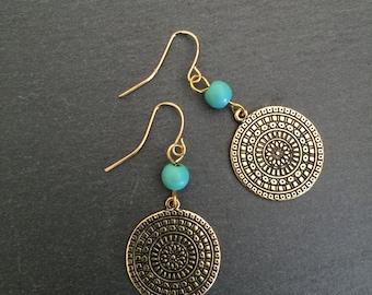 Gold Disc Earrings, Turquoise Earrings, Turquoise Jewellery, Boho, Turquoise, Bohemian, Ethnic, Gypsy