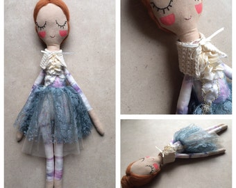 Cloth Doll. Hand Made Rag Doll w/ Outfit. BALLERINA. Gift for Girl. OOAK! Ready to Ship.
