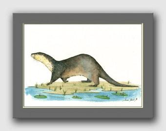 River Otter painting - River otter animal - otter art wildlife animal decor- animal life wall art -Original watercolor painting- Juan Bosco