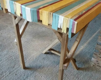 Colourful vintage desk made of reclaimed pallet wood