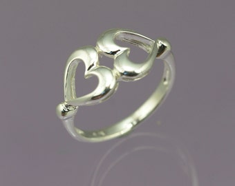 Two Hearts Sterling Silver Double Heart ring / Silver Jewellery / Heart Rings